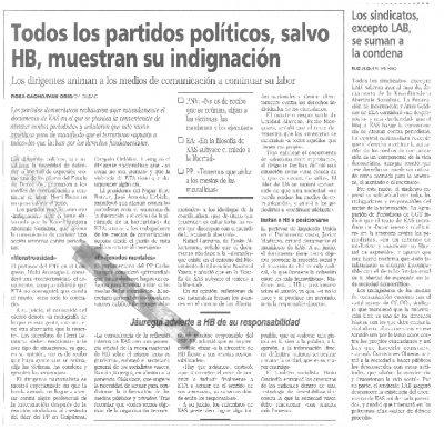 Indignación política y social ante la amenaza de KAS de atentar contra periodistas