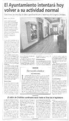 El Ayuntamiento deja vacío el sillón de Gregorio Ordóñez