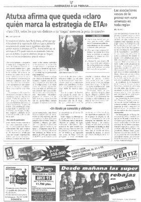 Atutxa acusa a KAS de marcar la estrategia de ETA tras el crimen de Ordóñez
