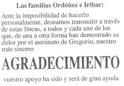 La familia de Gregorio Ordóñez da las gracias por la solidaridad recibida