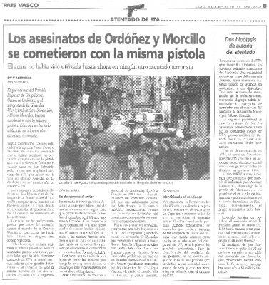 Gregorio Ordóñez y Alfonso Morcillo fueron asesinados con la misma pistola