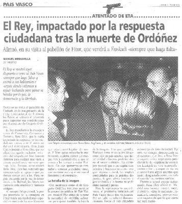 El Rey admite su impresión por la respuesta ciudadana tras el asesinato de Gregorio Ordóñez