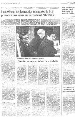 El fundador de ETA Julen Madariaga amaga con abandonar HB si el partido no condena el asesinato de Ordóñez