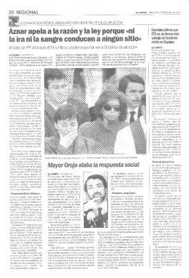 """Aznar afirma que """"ETA y HB no podían soportar ver a Ordóñez de alcalde"""""""