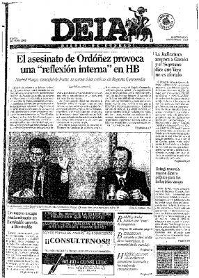 """La """"reflexión interna"""" llega a HB tras el asesinato de Gregorio Ordóñez"""