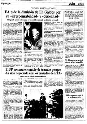 """Ordóñez dice no al cambio de la Autovía del Leizarán por negociarse """"con los enviados de ETA"""""""