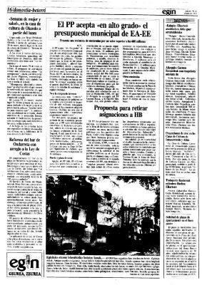 El PP propone que el Ayuntamiento de San Sebastián retire las subvenciones a HB