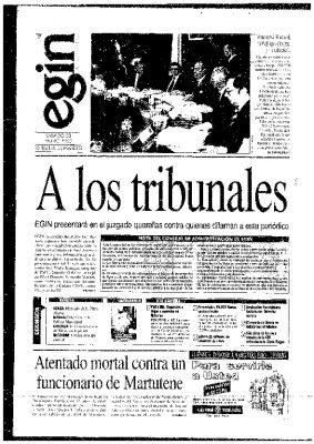 """Egin anuncia querellas contra políticos y periodistas a los que considera """"sus acusadores"""""""