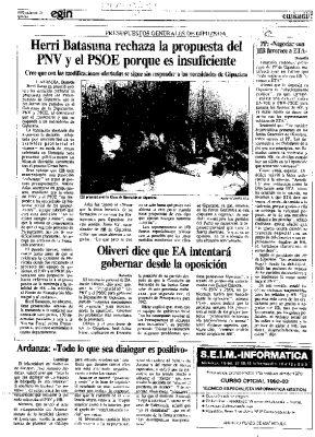 """Ordóñez: """"Toda negociación con HB favorece a ETA"""""""