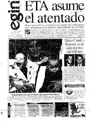 """ETA justifica el asesinato de Gregorio Ordóñez acusándolo de ser """"la principal representación de la imposición española"""""""