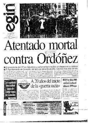 Egin lleva a portada con su habitual lenguaje el asesinato de Gregorio Ordóñez