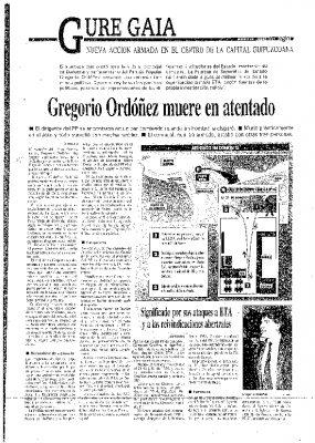 """Egin publica que Ordóñez """"fue muerto"""" por """"un hombre que le disparó un tiro en la cabeza"""""""