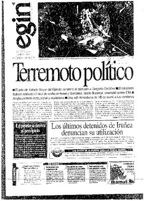 """Egin destaca la """"fuerte sacudida"""" provocada por el asesinato de Gregorio Ordóñez"""