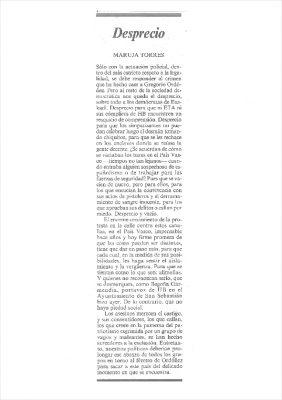 Un llamamiento al desprecio público a ETA y HB