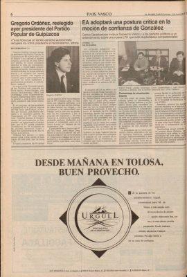 El PP reelige por amplia mayoría a Gregorio Ordóñez como presidente en Guipúzcoa