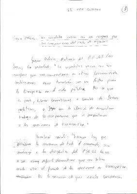 Borrador de una nota de prensa en la que Ordóñez exige al PSOE limpieza en la vida pública