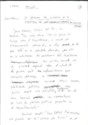 Borrador de una nota de prensa en la que Ordóñez critica a Elorza por su gestión del hipódromo