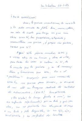 Carta de amor de Gregorio Ordóñez a Ana Iríbar
