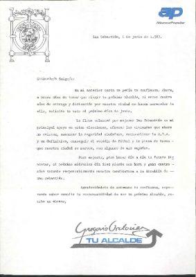 Una carta para pedir el voto en las municipales de 1987