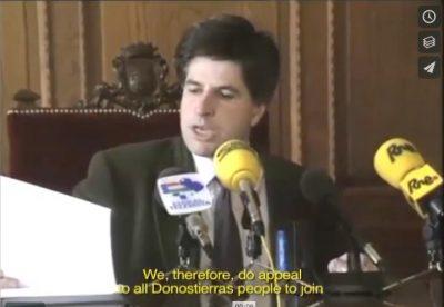 Ordóñez llama a los donostiarras a manifestarse contra ETA